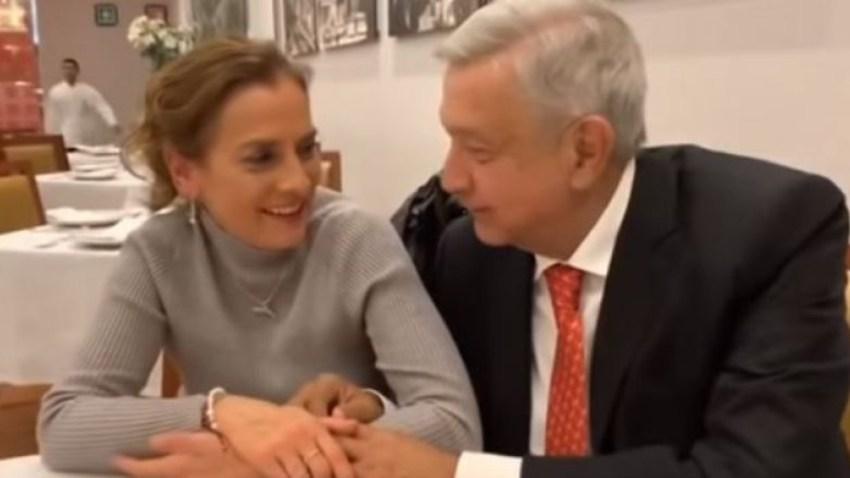 El presidente López Obrador y su esposa, Beatriz Gutiérrez.