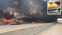 El momento exacto en que camión con 40,000 galones de combustible explota en llamas
