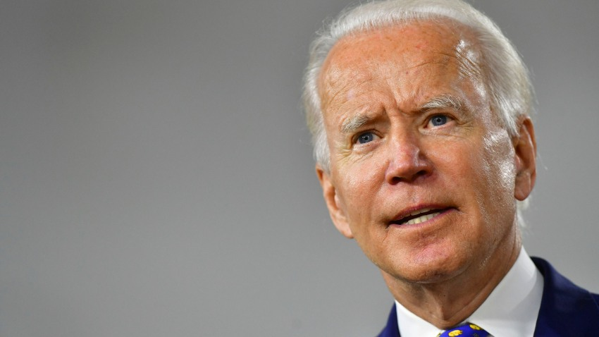 In this July 28, 2020, file photo, presumptive Democratic presidential nominee former Vice President Joe Biden delivers a speech at the William Hicks Anderson Community Center in Wilmington, Delaware.