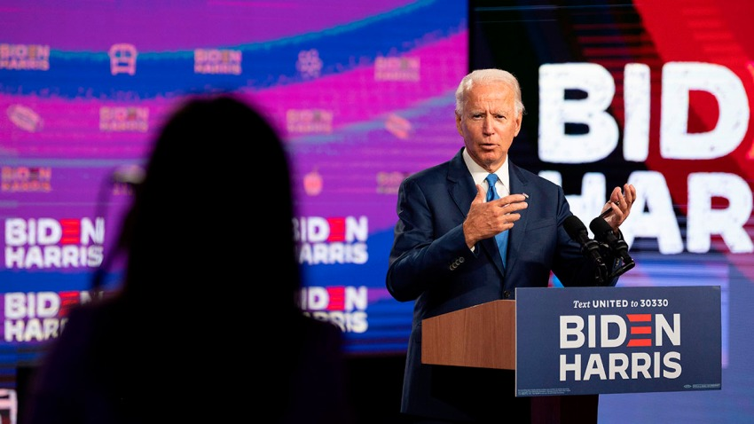 Democratic presidential candidate Joe Biden speaks after a virtual meeting on safe school reopening, in Wilmington, Delaware, Sept. 2, 2020.