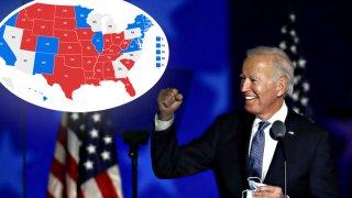 Joe Biden y un mapa de estados en disputa en la elección presidencial 2020.