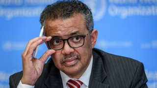 In this March 11, 2020, file photo, World Health Organization (WHO) Director-General Tedros Adhanom Ghebreyesus attends a daily press briefing on COVID-19, the disease caused by the novel coronavirus, at the WHO headquarters in Geneva.