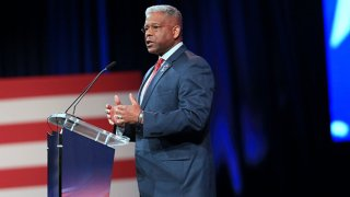 FILE: Allen West, Republican gubernatorial candidate for Texas, speaks during the Conservative Political Action Conference in Dallas, Texas on Sunday, July 11, 2021.