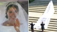 La actriz estadounidense llegó de blanco para su espectacular ceremonia de boda con el príncipe Harry de Inglaterra. Mira las fotos.
