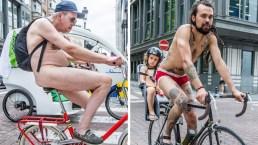 Ciclistas desnudos toman las calles de Bruselas