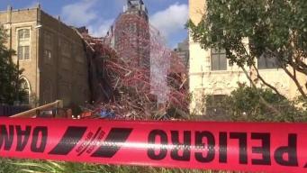 Andamio se colapsa y daña una iglesia en el centro