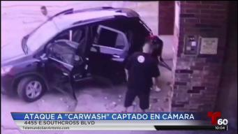 En video: presuntos ladrones intentan robar lavado de autos