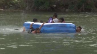 Migrantes desafían el río Bravo ante la Patrulla Fronteriza