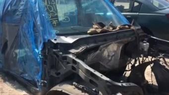 Hallan desmantelada camioneta robada de Traders Village