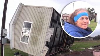 Fuertes vientos vuelan una casa, pero su dueña se salva de milagro