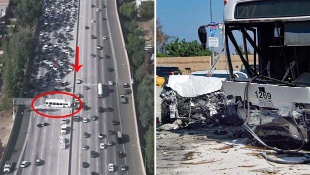 En fotos: decenas de heridos tras accidente masivo en Los Ángeles