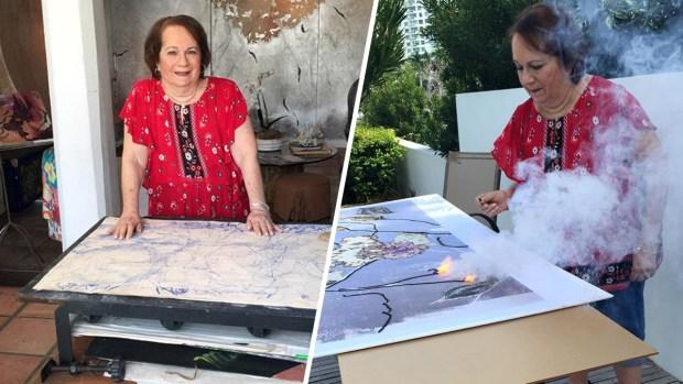 Artista de 85 años juega con fuego y pólvora para crear sus obras