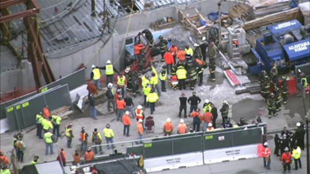 Accidente de construcción deja cuatro heridos