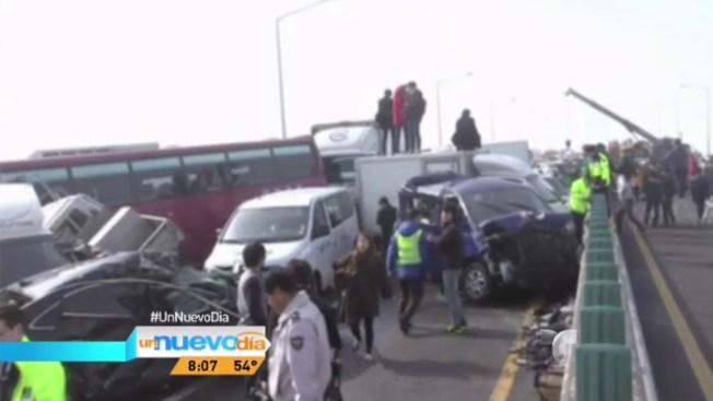 Impresionante choque de 100 vehículos