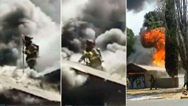 Casa en llamas se traga a bombero