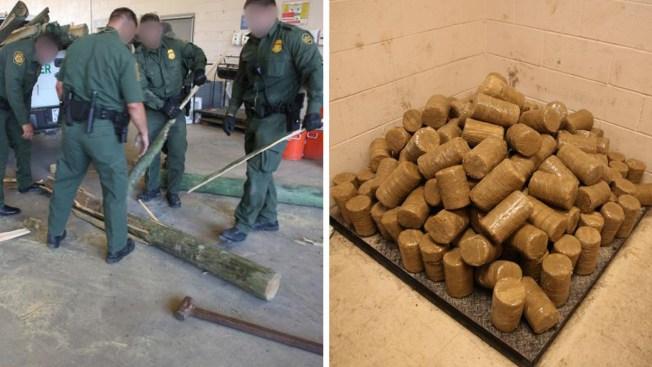 Descubren droga dentro de postes de madera