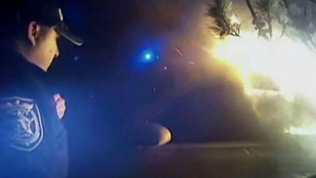 Dramático rescate de vehículo incendiado