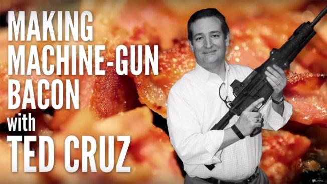 Ted Cruz cocina tocino con ametralladora