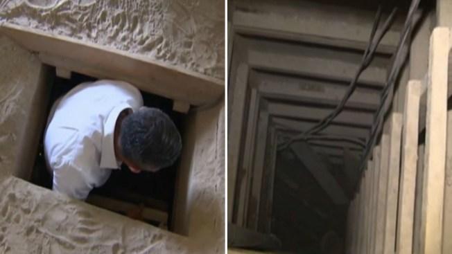 """Recorrido por túnel de escape de """"El Chapo"""""""